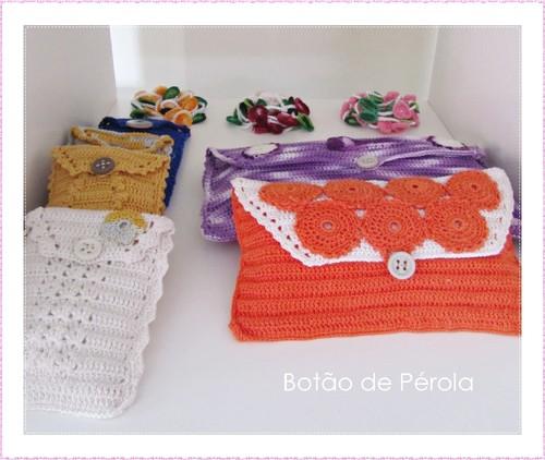 carteiras em crochet